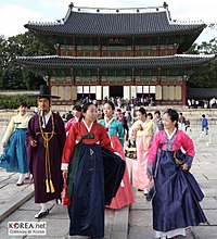 Koreans in traditional dress