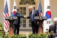 President Moon Jae-in with U.S. President Donald Trump in the Rose Garden of the White House in Washington, D.C. on June 30, 2017