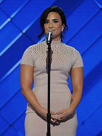 Lovato speaking at the 2016 Democratic National Convention in Philadelphia in July 2016
