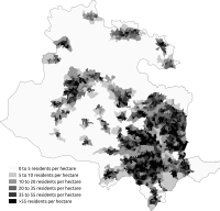 Population density in the Bradford Metropolitan District Council Area from the 2011 census