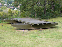Model of a portion of the pontoon bridge built for the film Gods and Generals, displayed at the Fredericksburg and Spotsylvania National Military Park