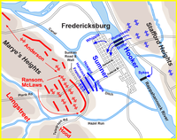 Sumner's assault, 1:00 p.m., December 13, 1862. The sequence of Union division attacks was French (II Corps), Hancock (II), Howard (II), and Sturgis (IX).