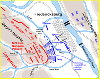 Hooker's assault, 3:30 p.m., December 13, 1862. The sequence of Union division attacks was Griffin (V Corps), Humphreys (V), and Getty (IX).