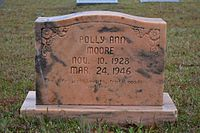 The headstone of Polly Ann Moore in Pleasant Hill Cemetery
