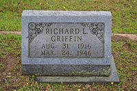 The headstone of Richard L. Griffin in Union Chapel Cemetery