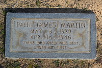The foot marker of Paul Martin in Hillcrest Cemetery