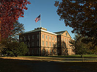 The Springfield Armory (building pictured is from the 19th century) was the first major target of the rebellion.