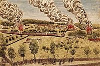Percy's Rescue at Lexington by Ralph Earl and Amos Doolittle from 1775, an illustration of the Battles of Lexington and Concord.