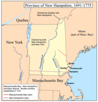 The disputed boundary between Massachusetts Bay Company and the Province of New Hampshire.