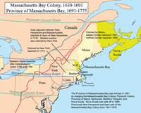 Major boundaries of Massachusetts Bay and neighboring colonial claims in the 17th century and 18th century; modern state boundaries are partially overlaid for context