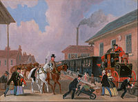The Louth-London Royal Mail Travelling by Train from Peterborough East, Northamptonshire (1845) by James Pollard.