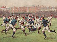 Rugby football match between England and Scotland, c. 1880