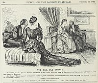 """A cartoon from the humorous British magazine Punch about a Senior Wrangler and a student at Girton College from """"December 20, 1884"""" (see upper-right corner)."""