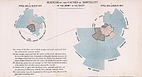 Nightingale's mortality charts from the Crimean War