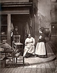 """From Street Life in London, 1877, by John Thomson and Adolphe Smith. """"...the inhabitants of Church Lane were nearly all what I may term """"street folks"""" – living, buying, selling, transacting all their business in the open street. It was a celebrated resort for tramps and costers of every description."""""""