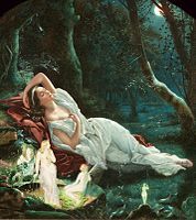 Titania Sleeping in the Moonlight Protected by Her Fairies by John Simmons, inspired by Shakespeare's A Midsummer Night's Dream.