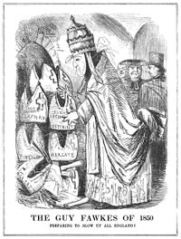 The restoration of the Catholic hierarchy in 1850 provoked a strong reaction. This sketch is from an issue of Punch, printed in November that year.