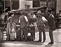 A street stall in London during the 1870s