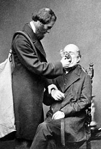 Joseph Thomas Clover demonstrating the Chloroform apparatus he invented in 1862
