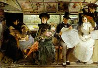 George William Joy's painting The Bayswater Omnibus, 1895, depicts middle-class social life in this English late Victorian-era scene.