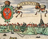 A paper engraving of 16th-century Warsaw by Hogenberg showing St. John's Archcathedral to the right. The temple was founded in 1390, and is one of the city's ancient and most important landmarks.