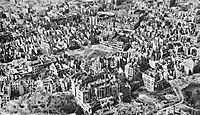 Sea of rubble – over 85% of the buildings in Warsaw were destroyed by the end of World War II, including the Old Town and Royal Castle.