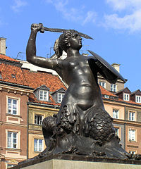 1855 bronze sculpture of The Warsaw Mermaid in the Old Town Market Place
