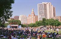 The New Haven Green Historic District in Connecticut was designated a National Historic Landmark District in 1970.