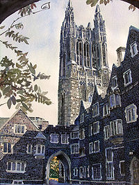 Watercolor of Cleveland Tower, Princeton University, seen in the noon autumn sun