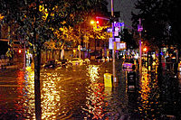 A flooded Avenue C in Manhattan just moments before the explosion at an electrical substation caused by Hurricane Sandy on October 29, 2012.