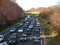 Heavy traffic on the Garden State Parkway in Wall Township, Monmouth County, New Jersey