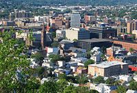"""Paterson, Passaic County, New Jersey, known as the """"Silk City"""", seen here from Garret Mountain Reservation, is a prime destination for a diverse pool of international immigrants."""