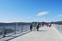 The Walkway over the Hudson, the world's longest pedestrian bridge, connects Ulster and Dutchess counties in New York.