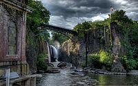 The Great Falls of the Passaic River in Paterson, Passaic County, New Jersey, dedicated as a National Historical Park in November 2011, incorporates one of the largest waterfalls in the eastern United States.