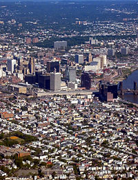 Aerial view of Newark, Essex County, New Jersey's most populous city