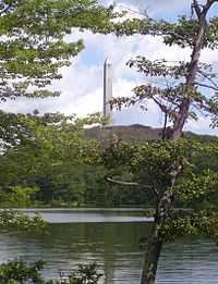 High Point Monument as seen from Lake Marcia at High Point, Sussex County, the highest elevation in New Jersey at 1803 ft above sea level.