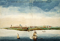New Amsterdam, centered in the eventual Lower Manhattan, in 1664, the year England took control and renamed it New York