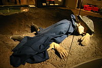 Representation of Charles XII of Sweden, shot dead during the siege of Fredriksten in 1718