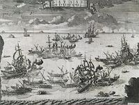 The battle of Grengam. A 1721 etching by Alexey Zubov.