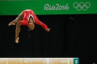 Biles competing in the 2016 Summer Olympics