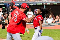 Biles at the 2019 All-Star Legends & Celebrity Softball Game