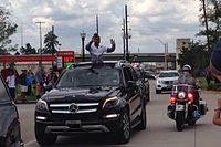 A homecoming parade for Biles in Spring, Texas on August 24, 2016