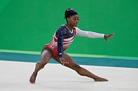 Biles competing at the 2016 Summer Olympics