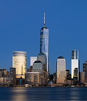 One World Trade Center and adjacent buildings at dusk