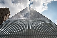 When viewed from street level in proximity to the tower, One World Trade Center appears to ascend to a pyramid point.