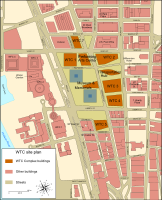 Preliminary site plans for the World Trade Center's reconstruction. In orange are the new buildings (One World Trade Center is the square at upper left), and in blue is the 9/11 Memorial and Museum.
