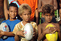 Solomon Islander boys from Honiara. People with brown or blond hair are quite common among Solomon Islanders without any European admixture, especially among children.