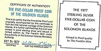 The Five Dollar Proof Coin of the Solomon Islands 24 October 1977