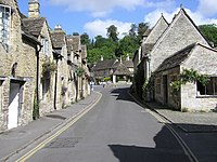 The main street of the village of Castle Combe, Wiltshire, England