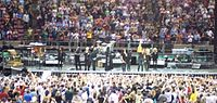 The E Street Band at the end of a Working on a Dream Tour show in May 2009. Jay Weinberg was subbing for his father on this show, and backing vocalists Curtis King and Cindy Mizelle augmented the lineup.